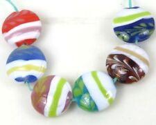 18mm Lampwork Handmade Glass Wheat Garden Lentil Beads (7)
