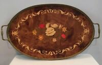 """Oval Italian Marquetry Inlay Wood Serving Tray w/ Brass Trim And Handles 20-1/2"""""""