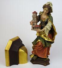 Religiöse Holzfigur Hl. Barbara Schutzpatronin m. Wandkonsole, Holz geschnitzt