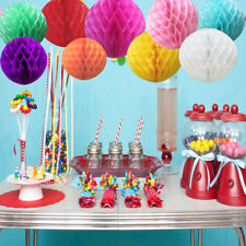 9 Mixed Colorful Honeycomb Balls Hanging Paper Lanterns Pompoms Wedding Party