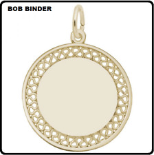 REMBRANDT STYLE 8467 GOLD PLATED LARGE FILIGREE ENGRAVABLE DISC CHARM