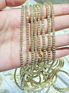 "10k Yellow Gold Necklace Tennis Chain 26"" Diamond Cut 4MM UNIQUE STYLE,REAL GOLD"