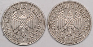 1950-F 1954-F GERMANY FEDERAL REPUBLIC 1 MARKS LOT/2-HIGH GRADE EXAMPLE SCARCE!
