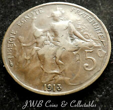 1913 FRANCE 5 CENTS / CENTIMES COIN