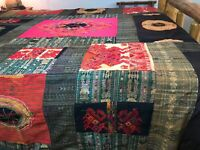 Vtg Handmade Patchwork Quilt Hippie Boho Queen Size Bedspread or Wall Tapestry