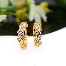 18 K Gold Plated Wave Earrings for Girls Women Lady White Zircons Hollow Hoops