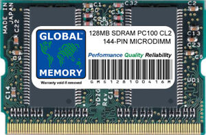 128MB PC100 100MHz 144-PIN SDRAM MICRODIMM MEMORY FOR LAPTOPS/NOTEBOOKS