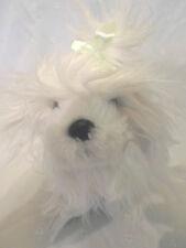"10"" Battat Long Haired White Terrier Puppy Dog Plush Soft Toy Stuffed Animal"