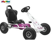 Ferbedo 005717 - Go Kart Tretfahrzeug Kettcar weiß/rosa