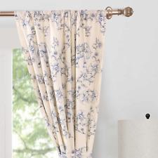 "Porcelain Blue Navy White Elephant Floral Curtain Panel (1) 84"""