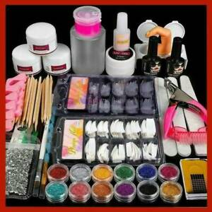 Pro Acrylic Nail Art Tool Kit Set Powder Nail Sticker DIY-Set Nail Brush Pump UK