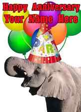 Elephant Happy Anniversary Party Hat Card codeee Personalised Greetings Card