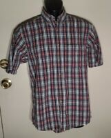 Geoffrey Beene Mens Button Front Shirt Size S Short Sleeve Plaid 100% Cotton