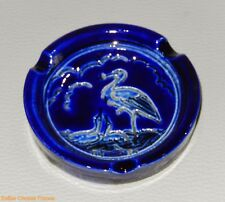 cendrier ou vide poche en grès de Betschdorf couleur bleu decor cigogne