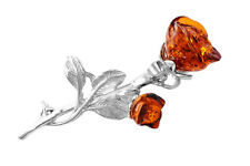 925 Sterling Silver & Sculptured Cognac Amber Red Rose Brooch Jewellery Jewelry