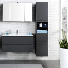 Komplett Badezimmermöbel Set 100cm Waschtisch Spiegelschrank Badmöbel Waschplatz