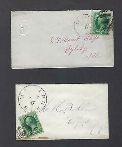 """US 1870-71 Two domestic 3 cent #136 """"Ladies Covers"""" one with corner embossing"""
