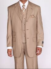Men's 3 piece Vested Suit Tan Color Elegant Classic Stripes with Sititching 5267