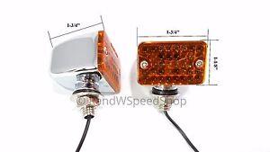 Pair Small Amber Turn Signal Indicator Lights Chrome Metal Bullet Car Hot Rod
