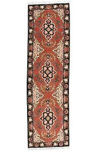 Fine Persìan Tabrìz Runner 3'x10' Rose Wool/Silk Hand-Knotted Oriental Rug
