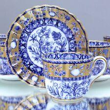 Copeland um 1890: 6 Tassen Blumen Blau und Gold Fond, China fruits, Blue Gold