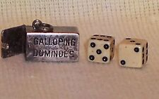 VINTAGE Sterling Silver 1940's GALLOPING DOMINOES w WHITE DICE Charm OPENS
