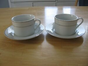 Set of 2 Essential Home Coffee/Tea Cups & Saucers White with Silver Color Trim