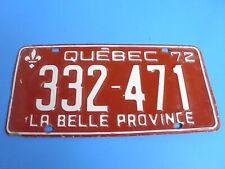 LICENCE PLATE QUEBEC 1972 LA BELLE PROVINCE 332 471