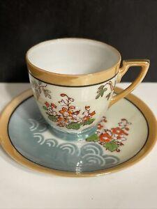 Vtg Demitasse Cup Saucer Japan chikaramachi Hand Painted