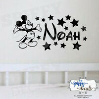 Mickey Mouse Personalized Name Custom Wall Decal Vinyl Sticker Walt Disney Stars