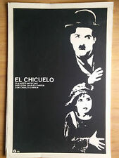 "SILKSCREEN MOVIE POSTER ""Charles Chaplin'sThe Kid"" BY ARTIST RENE AZCUY FILM ART"