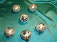 ~ 6 alte Christbaumkugeln Glas silber gold Eislack Weihnachtskugeln Vintage ~
