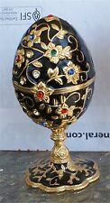 Jeweled Enameled Collectible Replica Black Egg Jewelry Well Ring Box