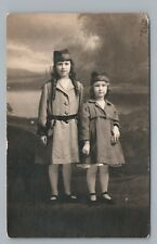 Cute Girls in Uniform RPPC Ruth Marion Walmsley—Antique Hats Studio Photo 1910s
