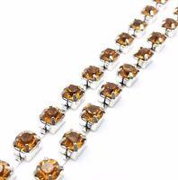 1 Metre Diamante Rhinestone Crystal Silver Base Chain Garments Cake Wedding