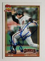 1991 Topps Greg Litton Giants Autograph Card Red Sox Mariners Signed Auto #628