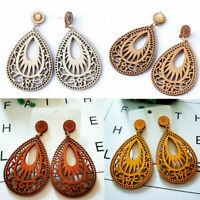 New Women Wooden Teardrop Hollow Flower Dangle Earrings Bohemian Jewelry Gift