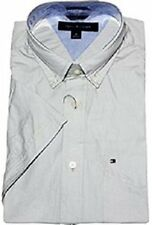 NWT TOMMY HILFIGER SHORT SLEEVE CLASSIC FIT BUTTON DOWN SHIRT -GRAY - LARGE / LG