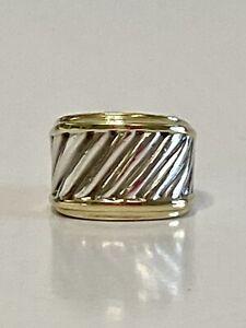 David Yurman Sterling Silver 14k Thoroughbred Cable Cigar Band Ring - Sz 5 1/2