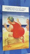 Bamforth Comic Postcard 1950s LOBSTER Biting BBW Fat Large Ladies Bottom Theme