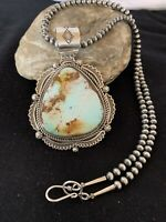 Mens Navajo Pearls Sterling Silver Blue Royston Turquoise Necklace Pendant 336