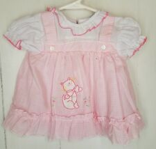 Cradle Togs Baby Girl Dress pink lace ruffle Cat kitty applique Vtg checked