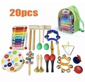 20PCs Wooden Kids Musical Instruments Set Toys Music Percussion Christmas Gifts