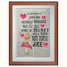 Alice in Wonderland quote - Mad Bonkers - dictionary art print gift Lewis Carrol