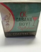 SET OF 4 Vintage THIRSTY STONE BAR COASTERS pool side Cabanna boy