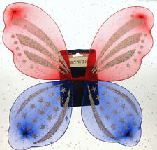 American Flag Fairy Wings Red and Blue Patriot Holiday Memorial Veterans July