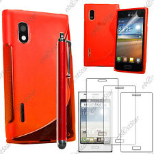 Housse Etui Coque Silicone S-line Rouge LG Optimus L5 E610 + Stylet + 3 Films