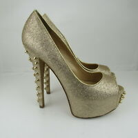 Chinese Laundry Pumps Heels Shoes Womens Size 7/38 Open Toe Gold Color Studded