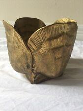 Hollywood Regency Mid Century Modern Brass Clam Scallop Shell Pot Holder