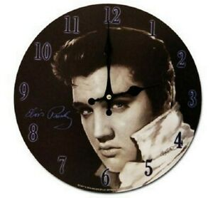 New Elvis Presley Black & White Round Wall Clock Collectible King of Rock & Roll